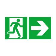 Sinalização Saída de emergência à direita com seta a direcionar para a direita