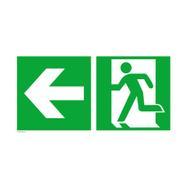 Saída de emergência à esquerda com seta a direcionar para a esquerda