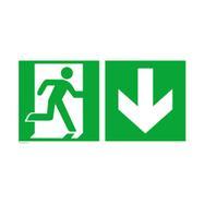Saída de emergência à direita com seta a direcionar para baixo