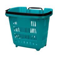 Cesto de compras sobre rodas com pega extensível