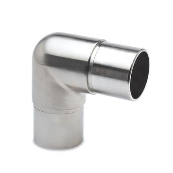 Conector de tubos 90° efeito de aço inoxidável