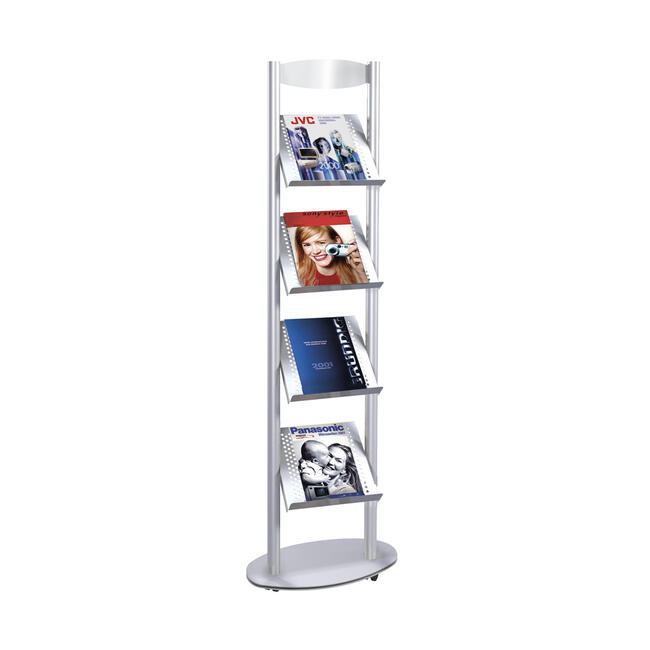 """Suporte de brochura móvel A4 """"Sirius"""" - com rodízios"""