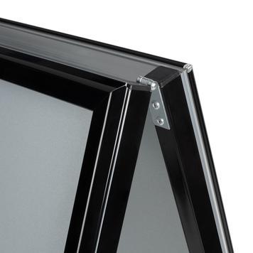 Expositor, perfil de 32 mm, cantos em esquadria, preto