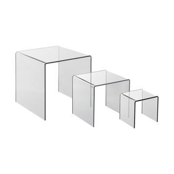 Conjunto de pedestal em acrílico de 3 partes